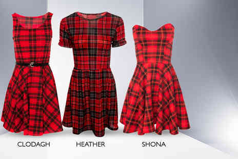 iKRUSH - Fashionable tartan skater dress in a choice of three styles - Save 53%