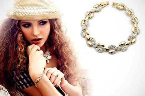 Trinkets - Two Tone Bracelet with Austrian Crystals - Save 71%