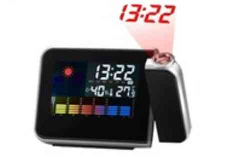 Roolyn - LCD alarm clock with weather station and projector - Save 75%