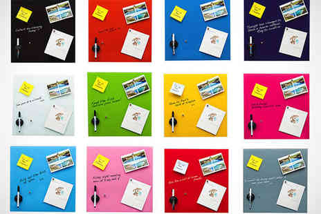 Homeware - Glass Magnetic Memo Board in Choice of 12 Colours - Save 79%