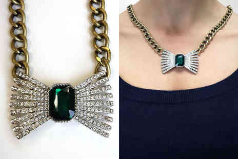 Trinkets - Emerald Coloured Bow Necklace with Delivery - Save 64%