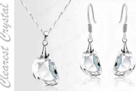 Crazee Trend - Clarise Crystal Pendant Necklace and Earrings - Save 86%