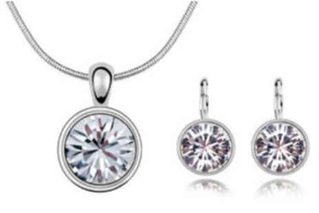 Crazee Trend - Selena Crystal Pendant and Earrings - Save 65%