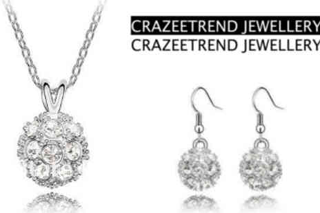 Crazee Trend - Shamballa Ball Style Pendant and Earring Set - Save 88%