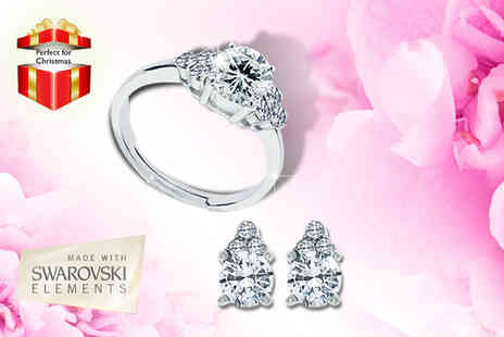 Diamond Style - Two ct trinity ring with matching earrings - Save 80%
