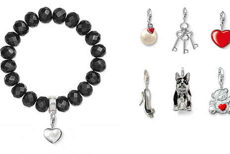 Suga Rush Love - Black obsidian crystal bracelet including a silver charm carrier - Save 78%