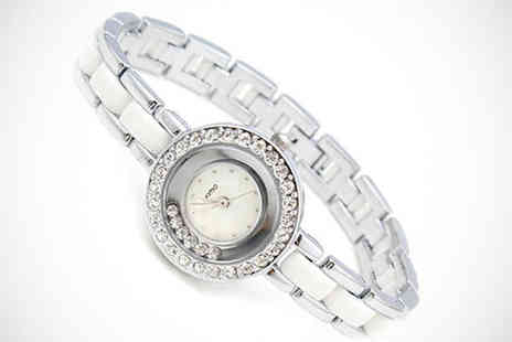 Trinkets - Kimio Floating Crystal Watch in Pink Crystal or Black - Save 64%