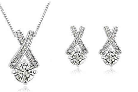 Finishing Touch - Silver Plated Swarovski Elements Crystal Kiss Pendant and Earring Set - Save 81%