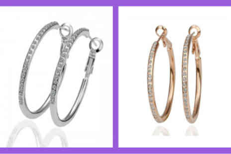 Cocobury - 18K Platinum or Gold Plated Hoop Earrings with Rhinestone Detailing - Save 67%