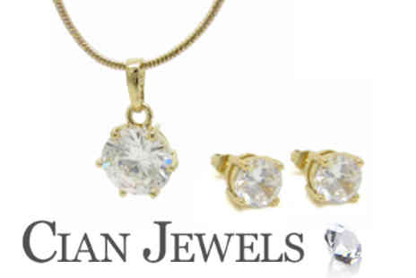Cian Jewels - Swarovski Element Solitaire Gold Plated Pendant and Earring Set - Save 84%