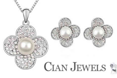 Cian Jewels - Pearl Flower Pendant and Earring Set - Save 86%