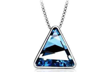 Sally Hansen - Blue Crystal Triangle Necklace - Save 55%