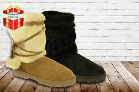 Linzi - Pair of  faux fur lined boots in a choice of 4 colours - Save 50%