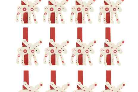 debenhams - Red Wooden Reindeer Christmas Card Pegs - Save 30%