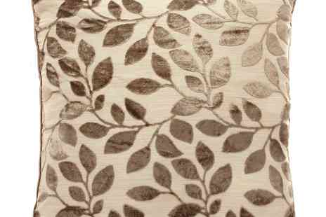 debenhams - Taupe Burnout Leaf Cushion - Save 31%