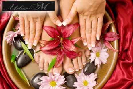 Atelier-M - Deluxe Spa Manicure and Pedicure with Nail Art for £25, £107 Value - Save 77%