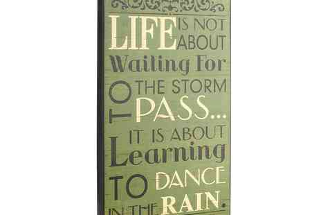 debenhams - Heaven Sends Wooden 'Waiting For The Storm' Sign - Save 20%