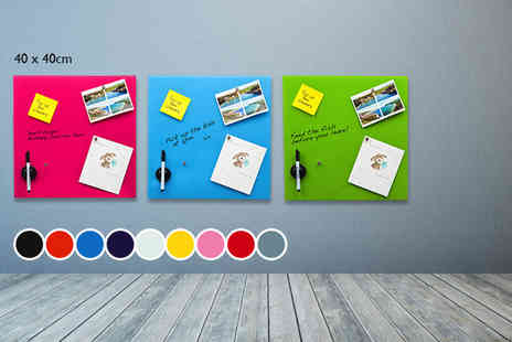 Homeware - Glass magnetic memo board in your choice of 12 colours - Save 77%