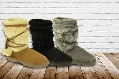 Linzi - Pair of faux fur lined boots in a choice of 4 colours - Save 53%