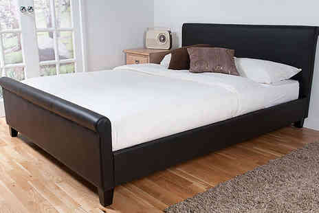 Giinii - Cannes Dark Brown Faux Leather Double or King Sized Bed Frame - Save 54%