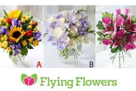 Flying Flowers - Say thank you with Flowers Bouquets  Includes Delivery Chocolates Luxury Ribbon & Pop Up Vase  - Save 51%