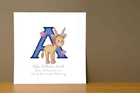 Frame My Name - Childrens personalised Animal Adventures Initial Letters print - Save 72%