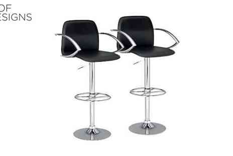 Irof Designs - Set of Two Black Stools with Gas Lift by Shark - Save 53%