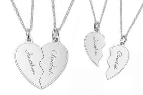 Silvexcraft Design - Sterling Silver Engraved Spilt Heart Pendant With Two Chains - Save 79%