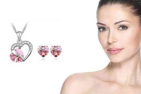 Flutterby Glam - Valentine's Pink Heart Earring and Necklace Set - Save 46%