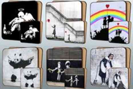 Canvas Town - Voucher for a Banksy Street Art Placemat and Coaster Set - Save 58%
