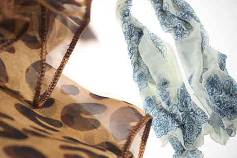 Just Buy - Scarf with Porcelain or Leopard Print - Save 63%
