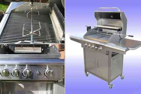 Garden Games - Silver Steel Gas BBQ & Rotisserie - Save 42%
