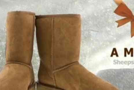 AMZ Boots - Pair of Sheepskin Boots in Choice of Three Shades - Save 67%