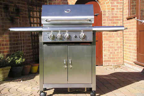 Garden Games - Silver Steel Gas BBQ and Rotisserie - Save 50%