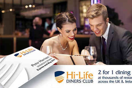 Hi-Life Diners Club -  Enjoy 2 for 1 dining at over 4,750 restaurants with this 12 month membership - Save 57%