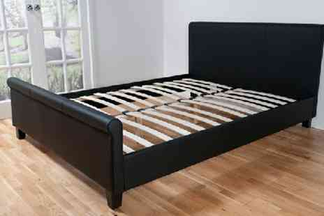 Giinii - Cannes Classic Scroll Black Faux Leather Bed - Save 53%