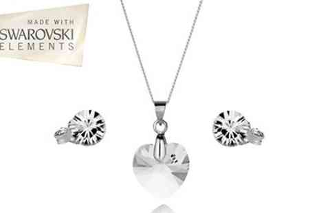 Diamond Style - Stunning Swarovski Elements Heart Pendant with matching earrings - Save 50%