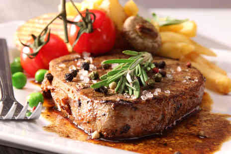 Queens Head - 12oz Steak Meal with all the Trimmings and a Glass of Wine Each for Two - Save 51%