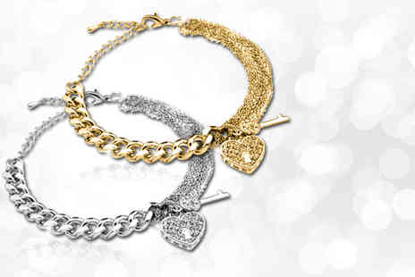 Zoo Jewellery - Dior inspired heart charm bracelet with white or yellow gold rhodium plating - Save 83%