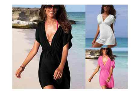 Flutterby Glam - V Neck Kaftan Beach Dress - Save 60%