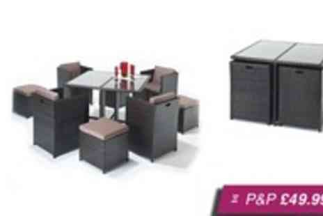 Trading Post Products -  Luxe Rattan four-seat cube set with footstools - Save 40%