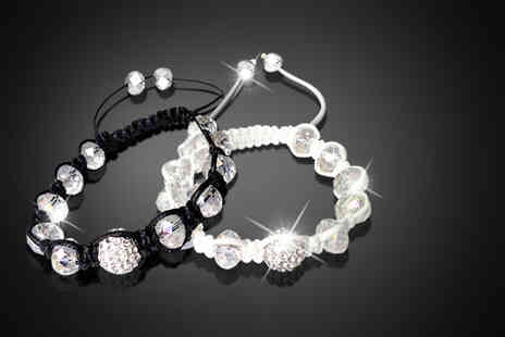 Suga Rush Love - Two crystal and beaded Shamballa bracelets - Save 84%