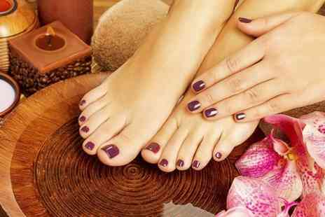 His and Hairs salon - Shellac For Fingers or Toes Callus Peel With Polish on Feet - Save 50%