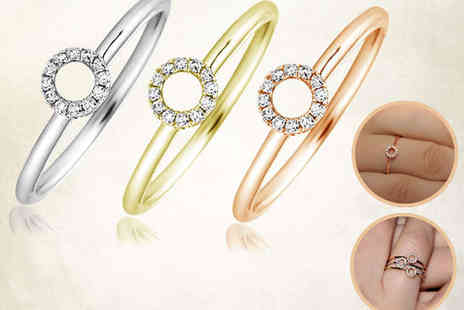 Mazal Diamond - Diamond Halo Ring in Pink, White, or Yellow Gold with Delivery Included - Save 75%