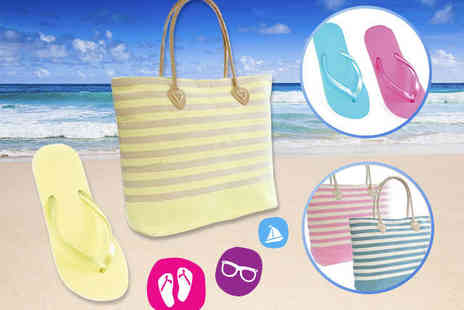 Matching Beach Bag and Flip Flops - Chic striped bag With Matching Set - Save 75%