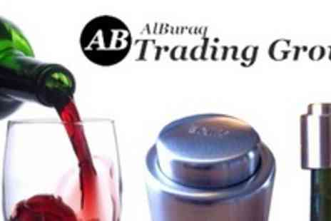 Alburaq Trading Group - Pair of Stainless Steel Scandinavian Wine Stoppers - Save 60%
