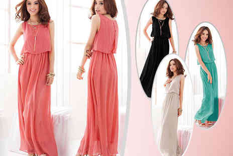 Chainz Jewellery - One Chiffon Maxi Dresses in Red, Black, Green, or White  - Save 79%