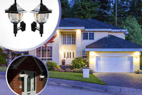 Trading Post Products - Pair of Victorian Style Solar LED Wall Lights - Save 77%