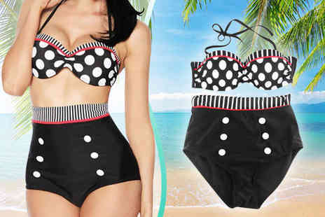 Bazaared - High Waisted Vintage Style Swimsuit in Choice of Sizes - Save 71%