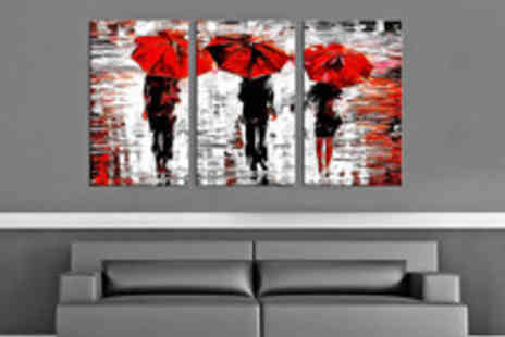 Red Art - Three Panel Canvas Art Print with Choice of Design - Save 56%